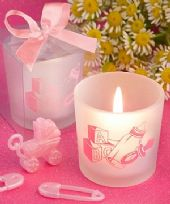 Pink Baby Girl Themed Candle Favours